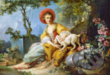 A Young Woman Seated with a Dog -